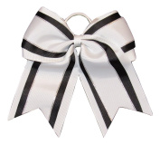 "NEW ""Black & White Glitz"" Cheer Bow Pony Tail 7.6cm Inch Ribbon Girls Hair Bows Cheerleading Dance Practise Football Games Uniform Competition"