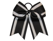 "NEW ""Black Glitz"" Cheer Bow Pony Tail 7.6cm Inch Ribbon Girls Hair Bows Cheerleading Dance Practise Football Games Uniform Competition"