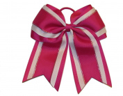 "NEW ""Dark Fushia Glitz"" Cheer Bow Pony Tail 7.6cm Inch Ribbon Girls Hair Bows Cheerleading Dance Practise Football Games Uniform Competition"