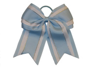 """NEW """"Light Blue Glitz"""" Cheer Bow Pony Tail 7.6cm Inch Ribbon Girls Hair Bows Cheerleading Dance Practise Football Games Uniform Competition"""