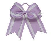 "NEW ""Light Purple Glitz"" Cheer Bow Pony Tail 7.6cm Ribbon Girls Hair Bows Cheerleading Dance Practise Football Games Uniform Competition"