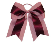 "NEW ""PINK & BURGUNDY Glitter"" Cheer Bow Pony Tail 7.6cm Ribbon Girls Hair Bows Cheerleading Dance Practise Football Games Uniform"