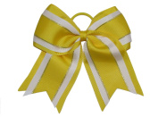 "NEW ""Yellow Glitz"" Cheer Bow Pony Tail 7.6cm Inch Ribbon Girls Hair Bows Cheerleading Dance Practise Football Games Uniform Competition"