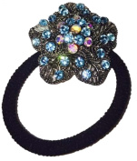 Blue Flower Pony Tail Holder - J88