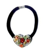 Silver Coloured Heart Ponytail Holder With Flowers And Rhinestones - J3