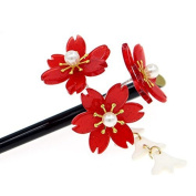 Acrylic Geisha Hair Stick with Red Acrylic Cherry Blossom Cluster and Tassel