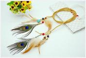 STEVE YIWU® Vintage Handmade Braided Hemp Rope Feather Beads Tassels Headband Hair Accessory
