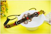 STEVE YIWU® Bohemia Style Vintage Red Rhinestone Crystal Feather Tassels Headband Nepali Hair Accessory