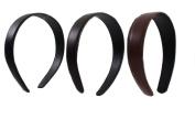 Fashion Headband Trio, 2.5cm - 0.3cm Wide Lt Brown, Dk Brown, Black Classic Style