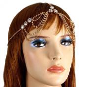 Head Jewellery ~ Crystal Rinestones Goldtone Head Chain Hair Band