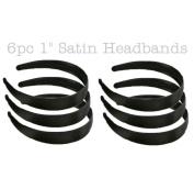 6pc 2.5cm Satin Headbands - 2.5cm wide