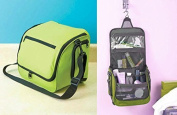 Green Family Sized Hanging Travel Camping Organiser Beauty Makeup Cosmetic Toiletries Holder Bag Compartments Pockets Removable Adjustable Shoulder Strap by knl store