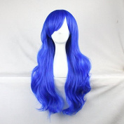 Womens Ladies Girls 70cm Navy Blue Colour Long Curly Wigs High Quality Hair Carve Cosplay Costume Anime Party Bangs Full Sexy Wigs