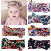 QingHan Baby Girl Hair Bows Elastic Turban Headbands Headwear For Teens Kids 6pcs