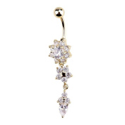 KeyZone Women's Popular Special Crystal Flower Dangle Navel Belly Button Ring Body Piercing Jewellery Golden Colour