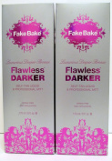 Fake Bake Flawless DARKER - Luxurious Deeper Bronze - Self Tan Liquid & professional Mitt - 180ml - Set of 2