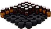24 New, High Quality, 1 ml (1/4 Dram) Amber Glass Bottles, with Orifice Reducers and Black Caps