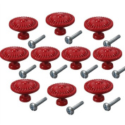 CSKB Red 10PCS Retro Simple Style Round Door Knob Zinc Alloy Shower Bath Door Handle Pull Knobs for Drawer,Cabinet,Chest, Bin, Dresser, Bathroom ,Cupboard, Etc with Screws