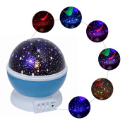 Monkeybrother Rotating 3 Modes 4 LED Beads 360 Degree Romantic Cosmos Star Sky Moon Projector -Rotation Night Projection Bed Lamp Bedside Lights and Colourful Star Light Party Decoration