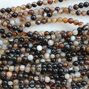 6mm Round Striped Agate Beads Loose Gemstone Beads Strand 38cm Jewellery Making Beads