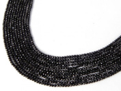 """2 Stand Beautiful Natural Black Spinel Rondelle Faceted 2-2.5mm 13"""" Long Strand"""