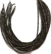 2 Strands Black Spinel Coated Faceted Rondelles Beads 2.5-3mm 13.5 inch Bead