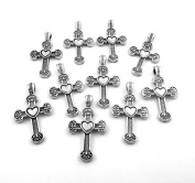 Set of Ten (10) Silver Tone Pewter Cross with Heart Charms