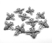 Set of Ten (10) Silver Tone Pewter Queen Bee Charms