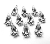 Set of Ten (10) Silver Tone Pewter Basset Hound Charms