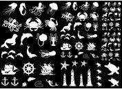 Sea Creatures 0.6cm - 2.9cm - White 16CC571 Fused Glass Decals