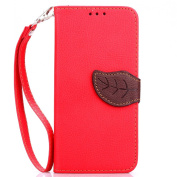 IKASEFU Wallet Case for Samsung Galaxy S6 Edge Plus,Creative Leaf Pattern Pu Leather Magnetic Flip Case Cover with Strap for Samsung Galaxy S6 Edge Plus-Red
