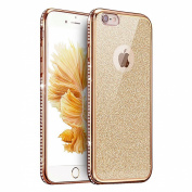 IKASEFU Glitter Rubber Case for iPhone 6/6S,Luxury Rhinestone Diamond Frame Bling Glitter Soft Rubber Case Cover for iPhone 6/6S 12cm -Gold