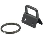 Bluemoona 20 Pcs - 1 Inch 25mm Key Fob Hardware Wristlet Set Wrist with Split Ring Wrist Gunblack