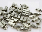 Linsoir Beads F905 Copper Barrel Screw Clasps,Pack of 50,12*3mm,Rhodium Plated