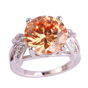 Narica Womens Simple Cute Round Cut Yellow Stone Cocktail Ring