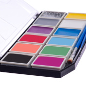 Face Painting Kit for Kids. Water based Vibrant 12 Colour Palette, Glitter Gel & Brushes. 100% Child Safe. Can cover 100's Boys' or Girls' Faces.