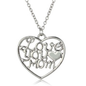 Onairmall I Love You Mom Dignified Elegant Heart Necklace Women Fashion Jewellery , Best Gift For Mothers Day