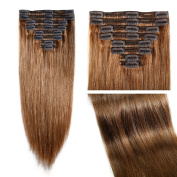 My Lady 50cm Double Weft 8 Pcs 18 clips in Remy Human Hair Extensions Light Brown