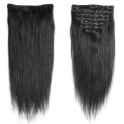 My Lady 41cm Double Weft 8 Pcs 18 clips in Remy Human Hair Extensions Jet Black