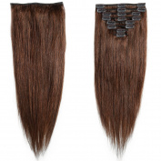 My Lady 60cm Double Weft 8 Pcs 18 clips in Remy Human Hair Extension Medium Brown