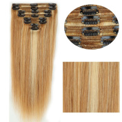My Lady 50cm Double Weft 8Pcs 18 clips in Remy Human Hair Extension Mix Blonde