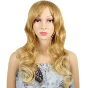 RightOn High Quality 50cm Long Women Mix Blonde Gold Wavy Fashion Wig with Free Wig Cap and Comb