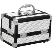 JustCase M1001 Mini Makeup Cosmetic Train Case Organiser Storage, Krystal White