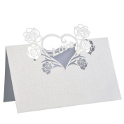 FENICAL Rose Heart Shape Wedding Table Name Card Guest Paper Name Place Cards 50pcs
