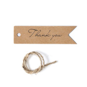 Shintop Thank You Tags - 100PCS Kraft Paper Gift Tags Bonbonniere Favour Wedding Hang Tags with Free 30m Natural Jute Twine Brown