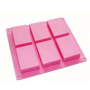 6-cavity Plain Basic Rectangle Silicone Mould for Homemade Craft Soap Mould, cake mould, Ice cube tray