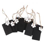 NUOLUX 10pcs Mini Hanging Wooden Blackboard Gift Tag + White Flower + Jute Twine