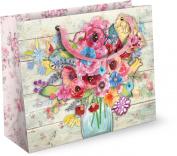 Punch Studio Floral Gift Bag Set of 2 Fresh Flowers