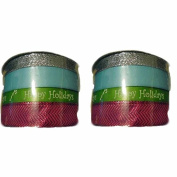 Set of (2) Holiday Christmas Spritz Fabric Ribbon 4 End X 12m Blue, Green, Silver & Fuscia