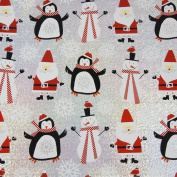 JAM Paper® Christmas Design Wrapping Paper- 2.3sqm - Silver Santa & Friends - Sold Individually